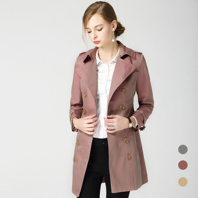 2018 Autumn New British Style Double-breasted Slim Long Trench B2