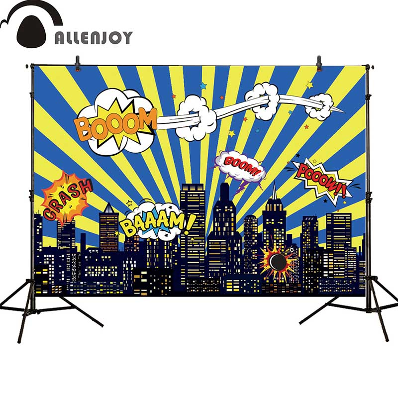 Allenjoy photography backdrop birthday party superhero city building night baby shower boy children background photography background baby shower step and repeat allenjoy backdrop custom made any size any style