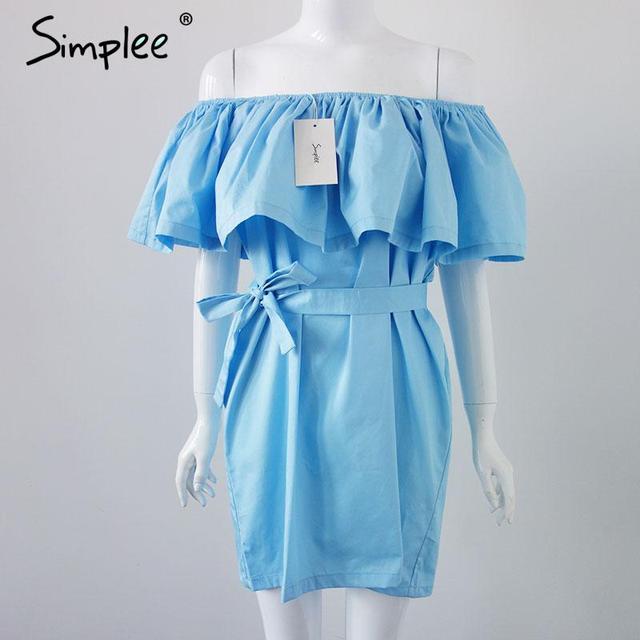 Simplee Apparel Ruffles slash neck women dress Summer style off shoulder sexy dresses vestidos White tube beach dress cotton