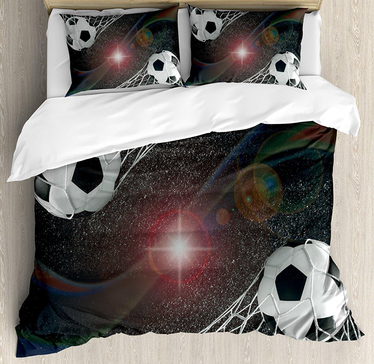 Decor Duvet Cover Set Soccer Balls Goal Match Success Concept in Outer Space Winner Glory Theme, 4 Piece Bedding Set
