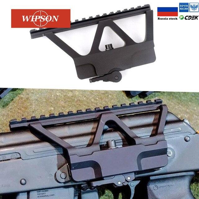Wipson Quick Detach Qd Ak Gun Side Rail Scope Mount Met Picatinny Side-Rail Montage Voor Ak 47 Ak 74 zwart