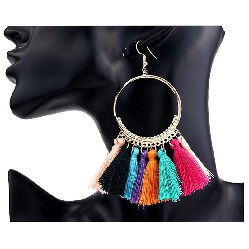 cjh010 Christmas Hoops Tassle Tassel Earrings Drop Fringe Earrings