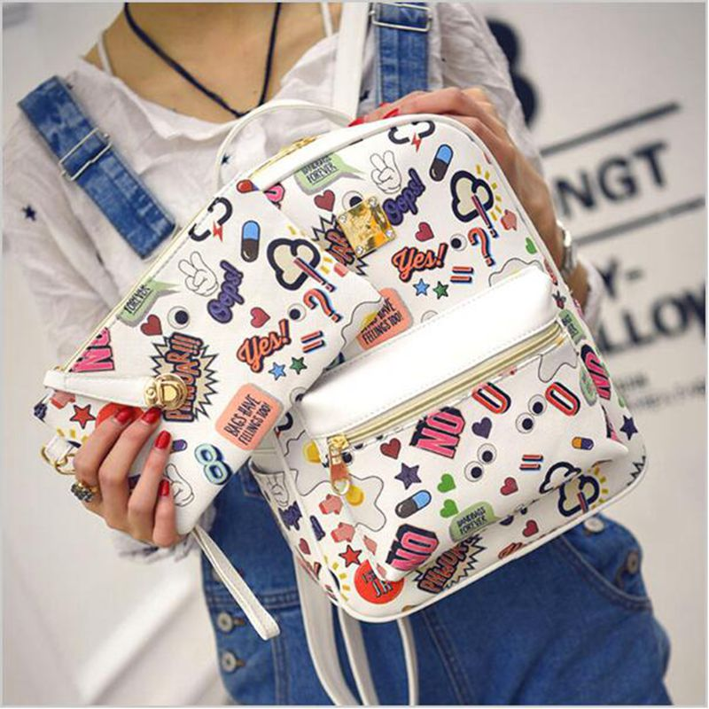 Korean Version of The New Backpack on Behalf of Female College Wind Tide Printing Backpacks Fashion