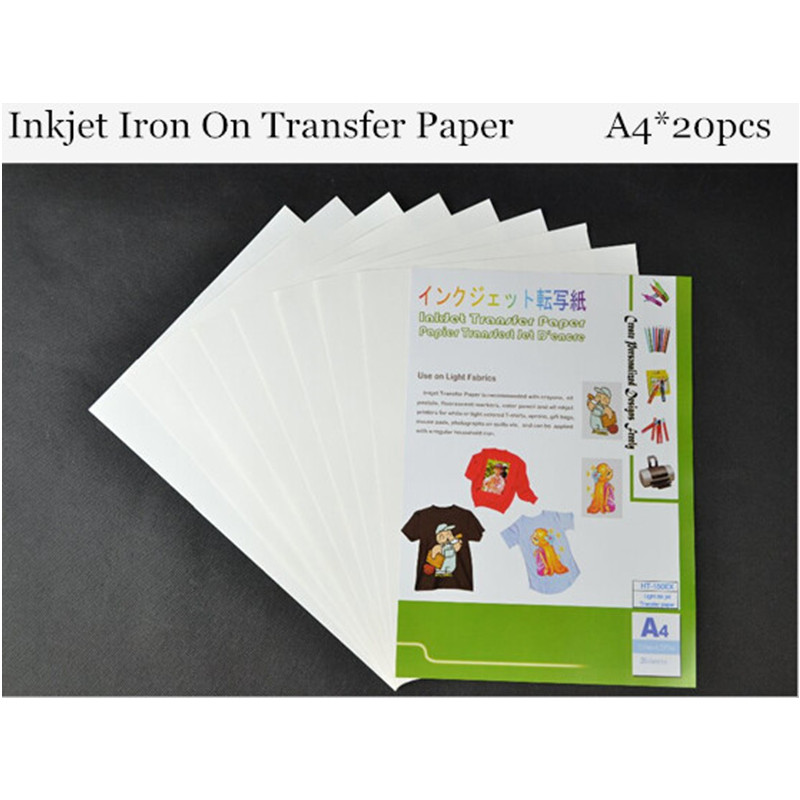 (A4*20pcs) Top Quality Inkjet Heat Iron On Transfer Printing Paper Iron-on Transfers Papel For Fabric Thermal Transfer HT-150EX
