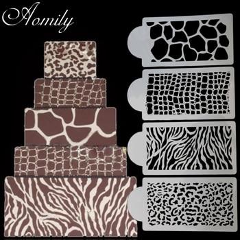 Aomily 4 sztuk/zestaw Zebra wzór w cętki w szalonym stylu ciasto wzornik malowanie aerografem formy ciasto kremówka ciasto z musem foremki dekoracyjne