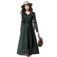 2017 New Lace Dresses Elegant Women Vacation V Neck Ankle Length A Line High Waist Office