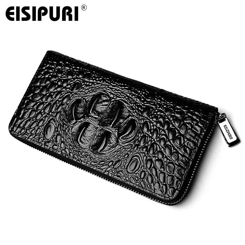 EISIPURI Genuine Cowhide Leather Men Wallets Luxury Crocodile ...