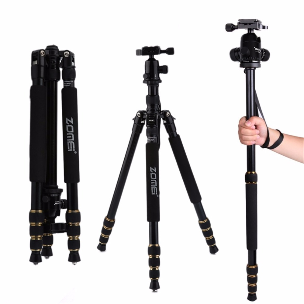 Z668 ZOMEI Professional Portable Camera Tripod Stand Monopod For DSLR Camera Digital Camera With Ball Head aluminium alloy professional camera tripod flexible dslr video monopod for photography with head suitable for 65mm bowl size