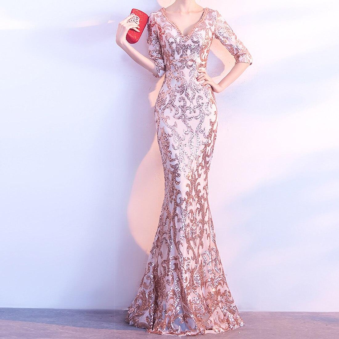 Femmes élégantes demi manches étage longueur sirène longue soirée robe de soirée côté fente Sequin femme perles mode robes 2019