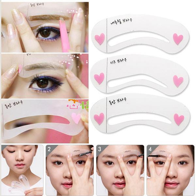 3 Styles/set Grooming Stencil Kit Shaping DIY Beauty Eyebrow Template Make Up Tool Hot Sale