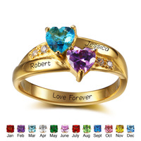 925 Sterling Silver Personalized Ring Engrave Birthstone Heart Ring Romantic Women Fine Jewelry Lover Gift RI102346