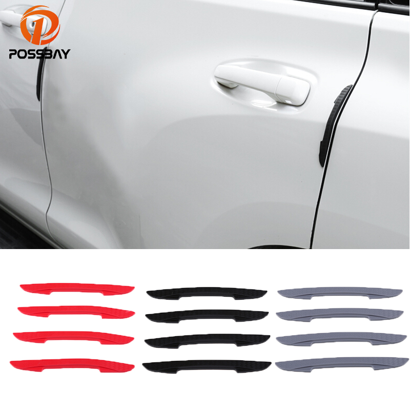4pcs Gray Door Side Bumper Guard Protector Decorative Sticker for Car Vehicle