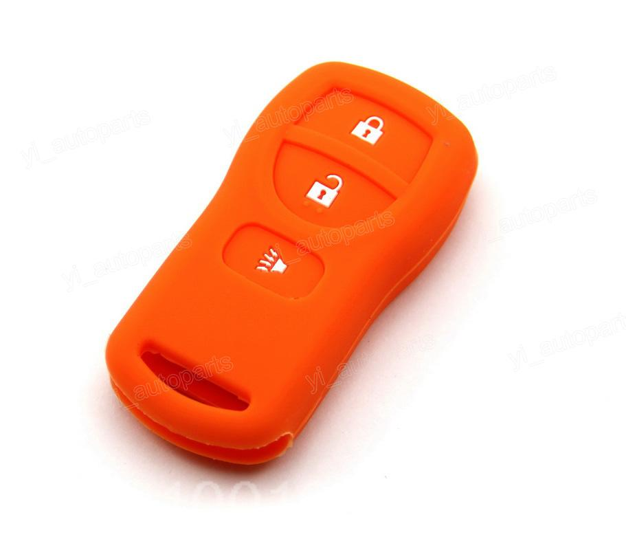 Orange Silicone Case Cover Fit For Nissan Armada Versa Titan Frontier Xterra Quest Pathfinder Quest Remote Key 3 Buttons