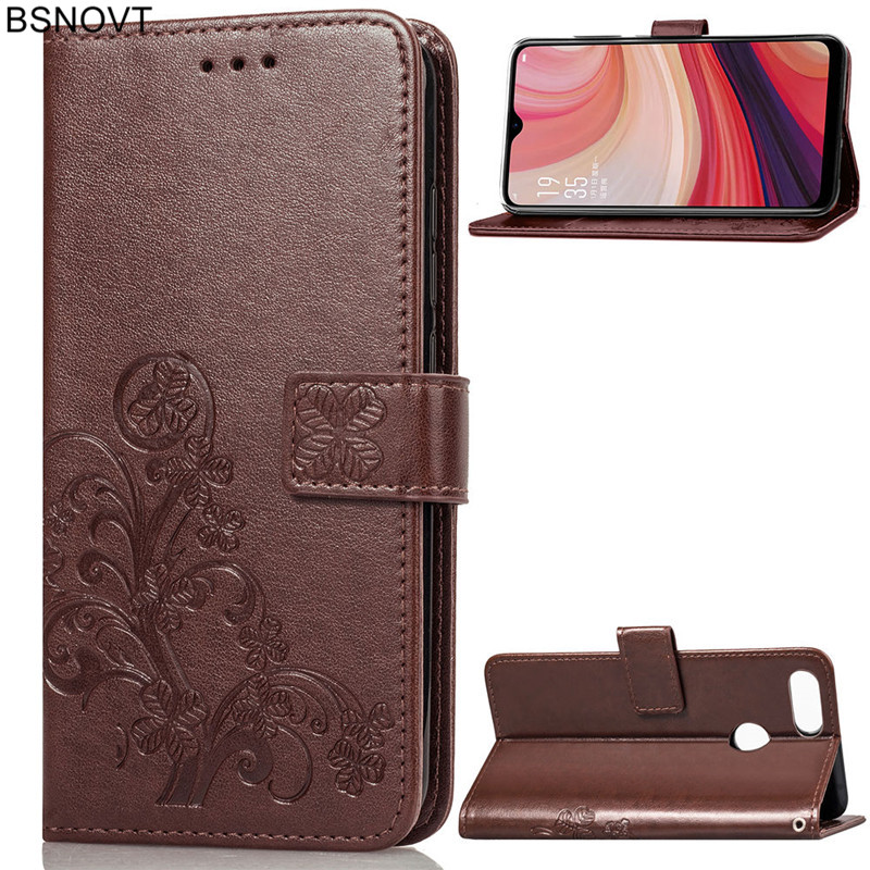 For OPPO A7 Case Soft Silicone Luxury Leather Wallet Anti-knock Phone Cover Bag BSNOVT
