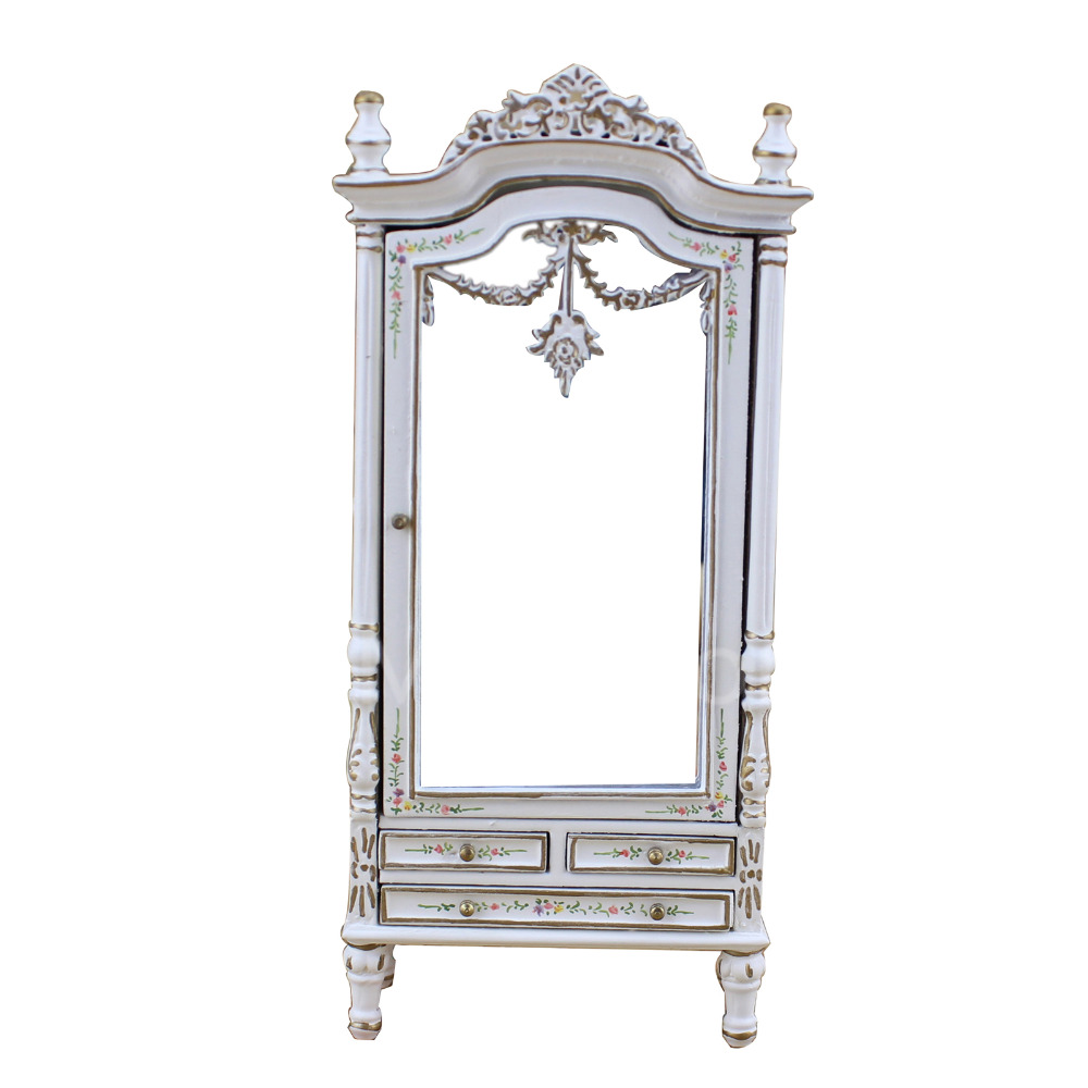 Dollhouse 1/12 Scale Miniature furniture Classical furniture model white painted bedroom wardrobe 1 12 scale dollhouse miniature furniture retro european palace bedroom bed 10339