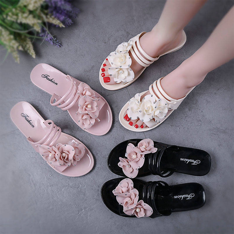 New Flowers Beach Shoes Ladies Flat Bottom Home Indoor And Outdoor Bathroom Sandals And Slippers