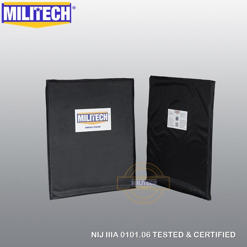 MILITECH Bulletproof Aramid Ballistic Panel Bullet Proof Plate Body Armor Backpack Armour NIJ Level IIIA 3A 11'' X 14'' Pair Set