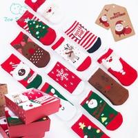 Zoe Saldana Christmas Baby Socks 2017 New 4 Pairs/Pack Winter Kids Girl Boy Thicken Santa Claus Reindeer Toddlers With Package