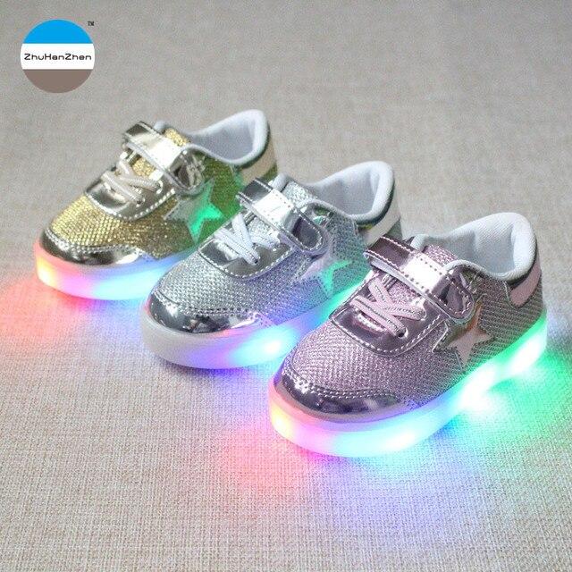 Enfants Chaussures Casual 2016 mode garçons filles Sport chaussures bébé lumière LED lumineux Sneakers Flasher Baby Boot cukybMujVq
