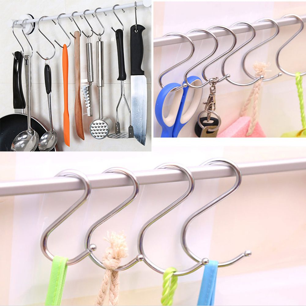 1PC Stainless Steel Practical Hooks S Shape Kitchen Railing S Hanger Hook Clasp Holder Hooks For Hanging Clothes Handbag Hook