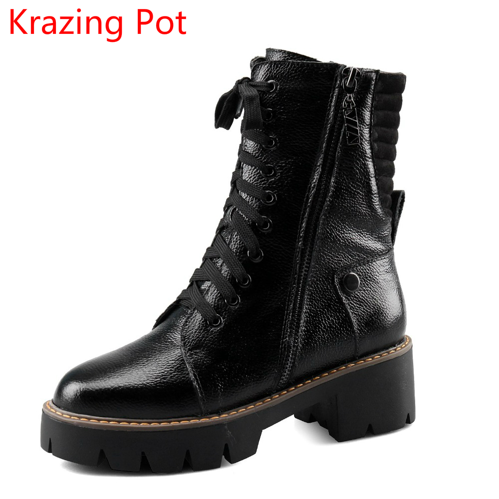 2018 Fashion Brand Winter Shoes Genuine Leather Round Toe Women Mid-calf Boots Warm Office Lady Heel Platform Cowboy Boots L1f9 nayiduyun women genuine leather wedge high heel pumps platform creepers round toe slip on casual shoes boots wedge sneakers