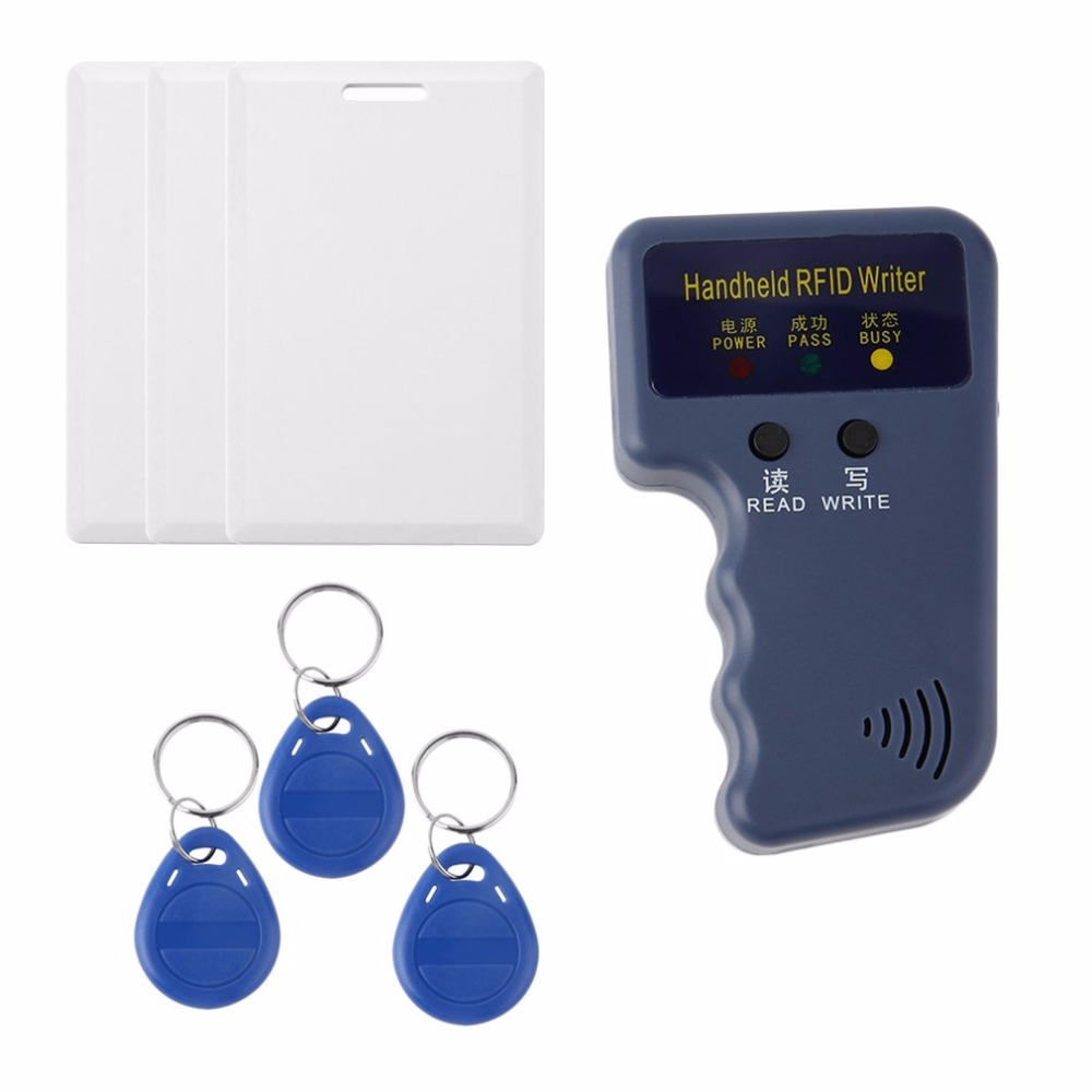 Handheld 125khz RFID Duplicator key copier reader writer ID card cloner Programmer +3 Keys +3pcs Rewritable Cards EM4305 T5577 handheld 125khz rfid duplicator key copier reader writer id card cloner programmer 5 keys 5pcs rewritable cards em4305 t5577
