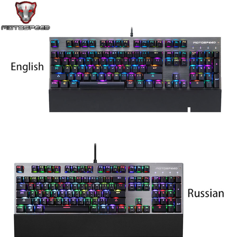 MOTOSPEED Gaming Keyboard Ergonomic USB Wired RGB with Anti-ghosting 104 Keys Adjustable LED Backlit Blue Switch Gamer Keyboards free gift mouse pad motospeed ck104 wired mechanical keyboard 104 keys real rgb blue switch gaming led backlit anti ghosting