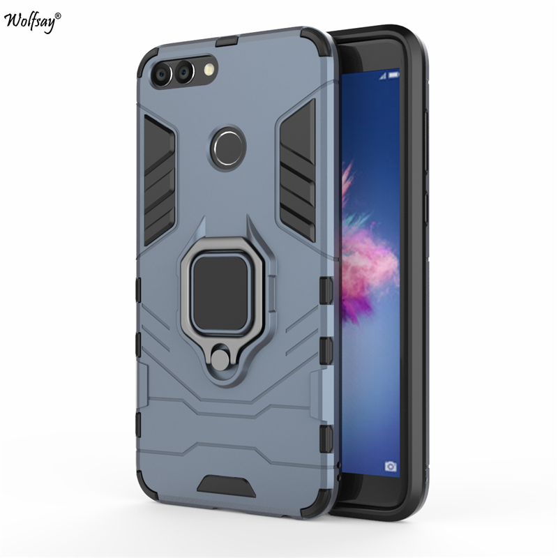 Wolfsay for Huawei P Smart Case, P Smart 2018 Car Holder Armor Cases Hard PC & Soft Silicone Cover for Huawei P Smart 2018 5.65""