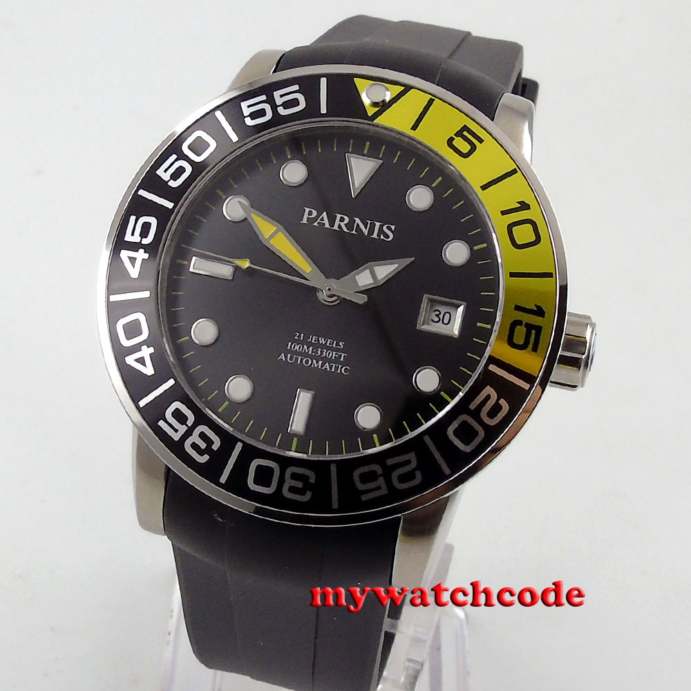 лучшая цена 42mm Parnis black dial date window Sapphire glass Miyota automatic mens watch605