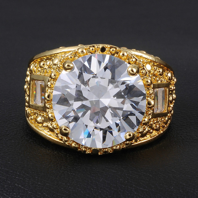Jenny G Jewelry Delxue Big Diamond Simulated Cz Gem Stone 18k Yellow Gold Filled Ring For Men