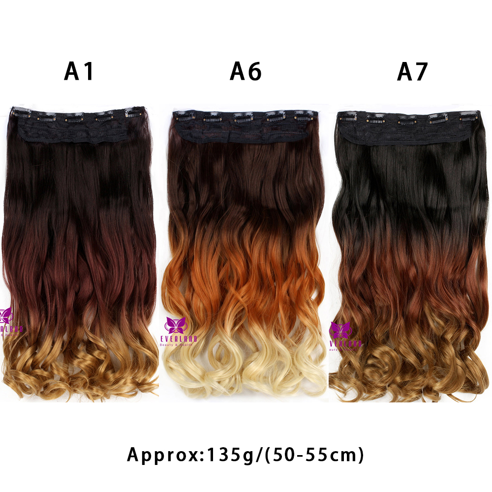 22inch One Piece Three Colors Ombre Hair Extension Wavy Clip In Hair