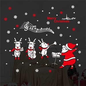 Image 1 - Наклейки на стену с изображением Санта Клауса, настенные художественные съемные наклейки для дома, украшения для вечеринки, рождественские наклейки на окно, 2019
