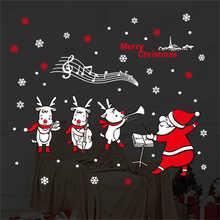 2019 pegatinas de pared de Santa Claus de dibujos animados arte de pared extraíble Calcomanía para el hogar Decoración de fiesta pegatinas de película de ventana de Feliz Navidad