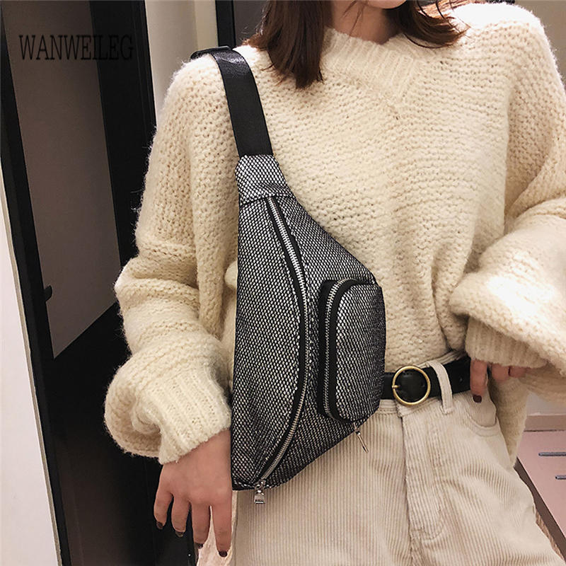 Bridal & Wedding Party Jewelry 2019 New Fashion Neutral Outdoor Shoulder Bags Zipper Sequin Messenger Sport Chest Bag Waist Bags Bolsa Feminina Handbag @p