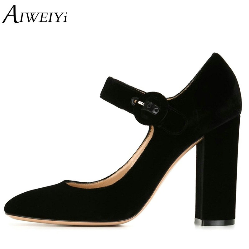 AIWEIYi Women High Heels Shoes Fashion Buckle Strap Square High Heels Ladies Platform Pumps For Woman Plus Size Sapato Feminino baoyafang white red tassels women wedding shoes bride 12cm 14cm high heels platform shoes woman high pumps female shoes