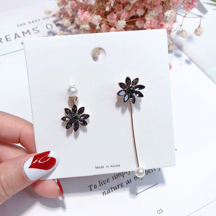 2018 Beautiful Flower Long Dangle Earring Asymmetric Rhinestone Simulated Pearl Drop Pendientes For Women Fashion Jewelry Gift