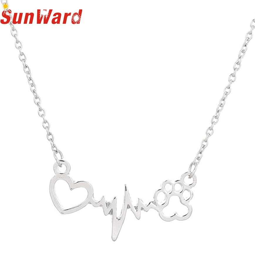 Necklace women Necklace For Women Personalized Jewelry Crystal Rhinestone Dog Paw Love dog claw pendant necklace db14 p30
