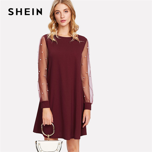 SHEIN Burgundy Pearl Beading Mesh Sleeve Sheer Dress 2018 Women Round Neck  Long Sleeve Casual Dress