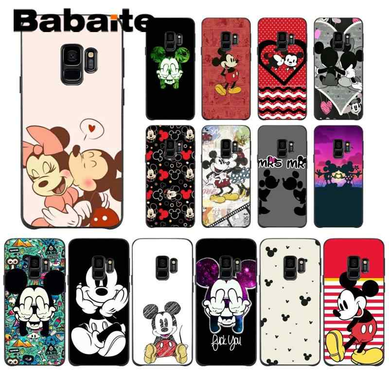 Babaite kisses for lovers Mickey and Minnie Mouse Cute Phone Case for Samsung Galaxy S6 S7 edge S6 edge plus S5 S9 Plus case