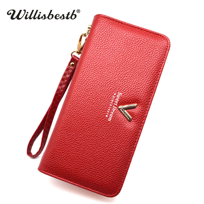 2018 New Ladies Purses Female Brand Wallets Women Long Zipper Purse Woman Wallet Leather Card Holder Clutch Portefeuille femme dollar price new european and american ultra thin leather purse large zip clutch oil wax leather wallet portefeuille femme cuir