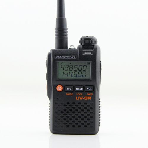Hot-venda 1500 mAh bateria Li-ion tamanho mini dual band vhf/uhf handheld rádio em dois sentidos BAOFENG UV-3R Walkie Talkie