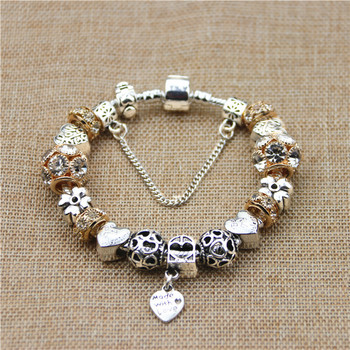 Women Bracelet Silver Plated Flower Pendant Charms Pan Bracelets