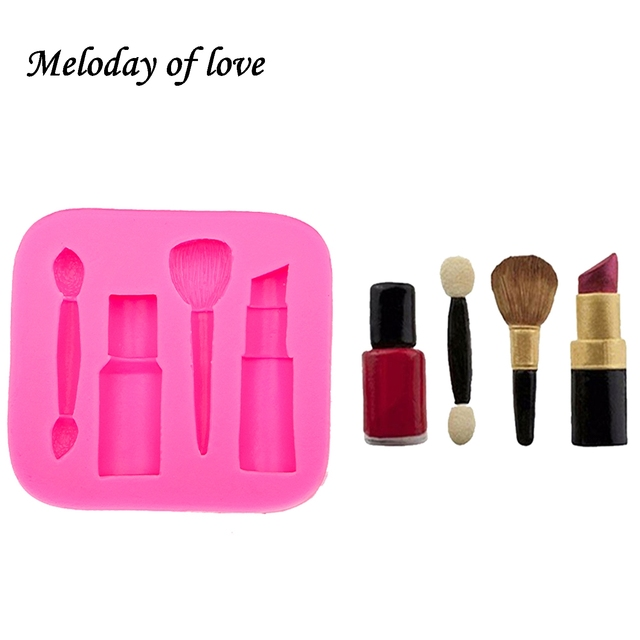 Makeup tools lipstick nail polish chocolate Party DIY fondant cake decorating tools silicone mold dessert moulds T0075 1