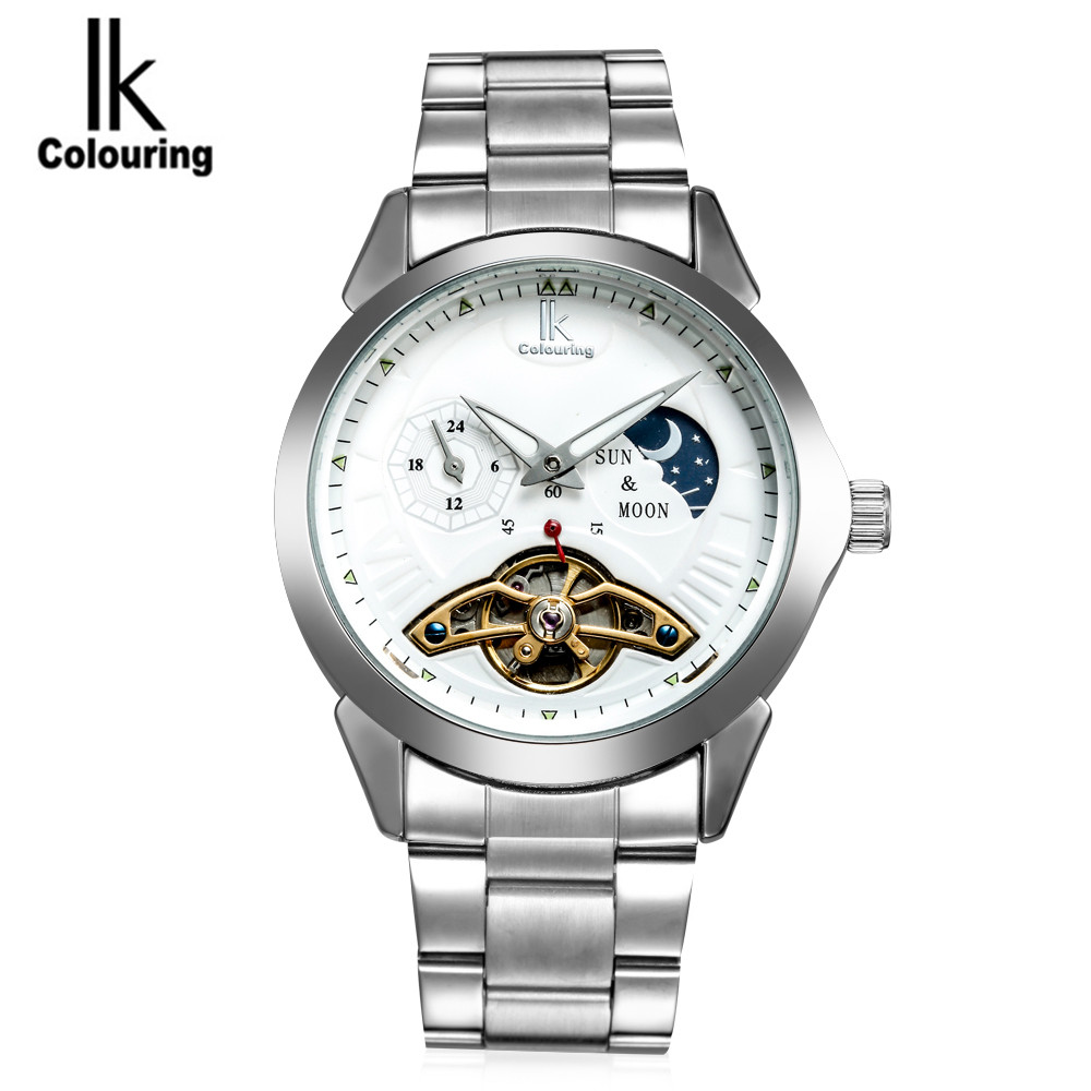 IK Luxury Fashion Montre Homme Men's Moon Phase Automatic Tourbillion Mechanical Watch Wristwatch Free Ship fosining luxury montre homme watch men s auto mechanical moonpahse genuine leather strap watches wristwatch free ship