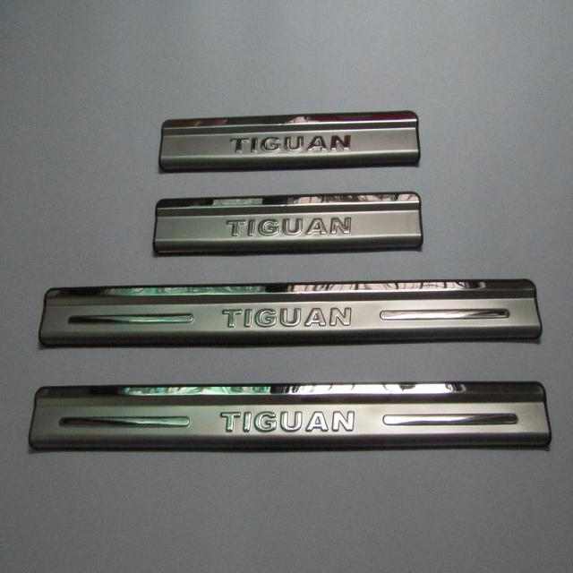 for vw Volkswagen Tiguan stainless door sill scuff plate guards protector door sills trim pedal car accessories styling 4pcs/set