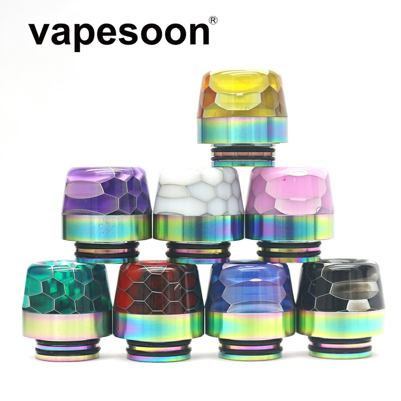 25pcs Colorful in Rainbow Snake Skin Cobra 810 Drip Tip for e Cigarette 810 Thread Atomizer
