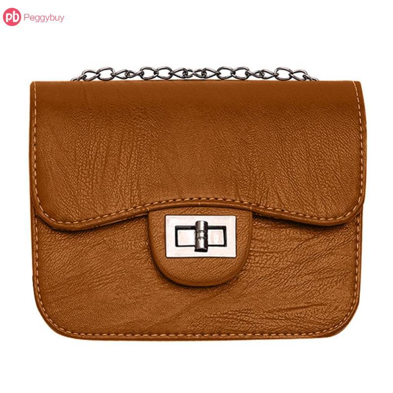 Hot PU Leather Women Messenger Bag Plaid Ladies Crossbody Bag Chain Trendy Candy Color Small Flap Shopping Handbag