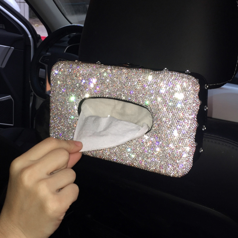 criativo bling cristal caixa de tecido do carro viseira tipo glitter diamante tecido caixa capa suporte