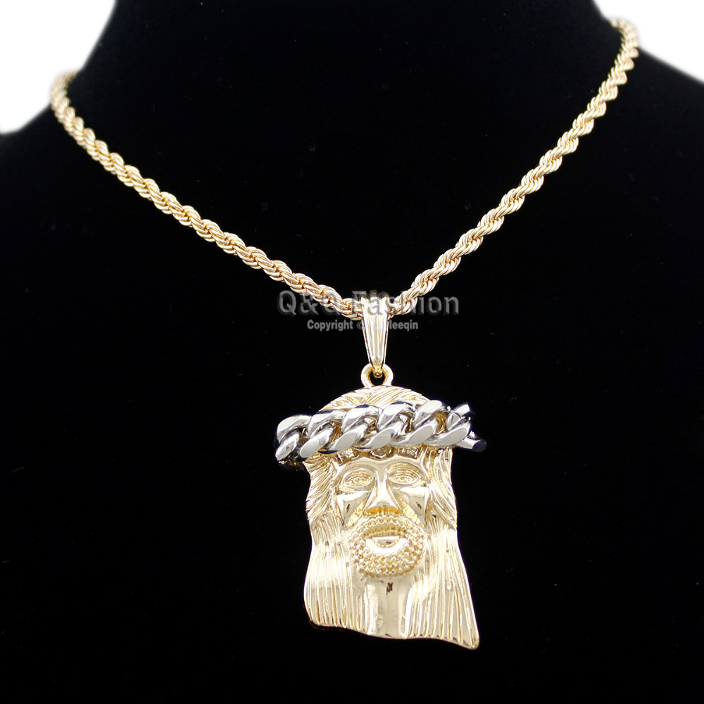 1b90736eb284 Cheap Collar de cadena grueso con colgante de cuerda torcida de Cristo con  medallas de cruz