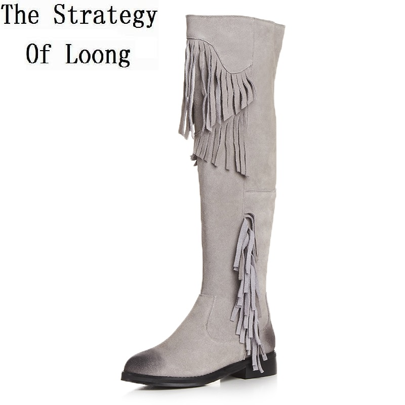 Genuine Leather Fringe Short Plush Thick Warm Round Toe Fashion Knee High Boots Real Leather Casual Winter Lady Long Boots 70208 women leather short plush thick warm snow knee high boots fashion high heels lady knight boots new arrival big size boots